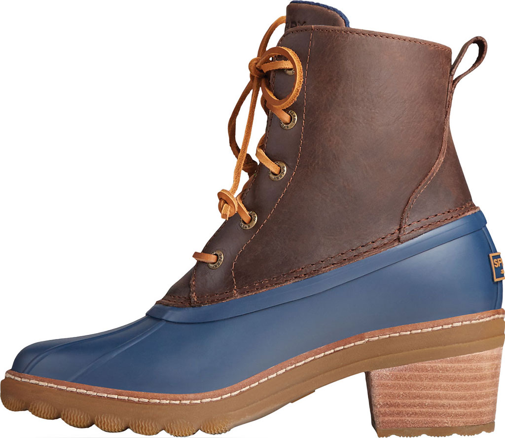Women's Sperry Top-Sider Saltwater Heel Leather Duck Boot, Brown/Navy Leather/Rubber, large, image 3