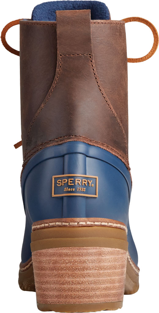 Women's Sperry Top-Sider Saltwater Heel Leather Duck Boot, Brown/Navy Leather/Rubber, large, image 4