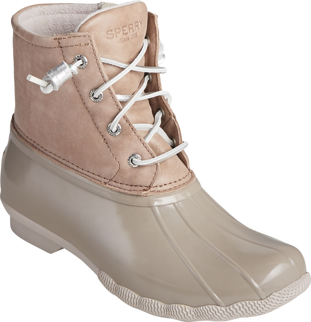 Women's Sperry Top-Sider Saltwater Starlight Leather Duck Boot, Dove Leather/Rubber, large, image 1