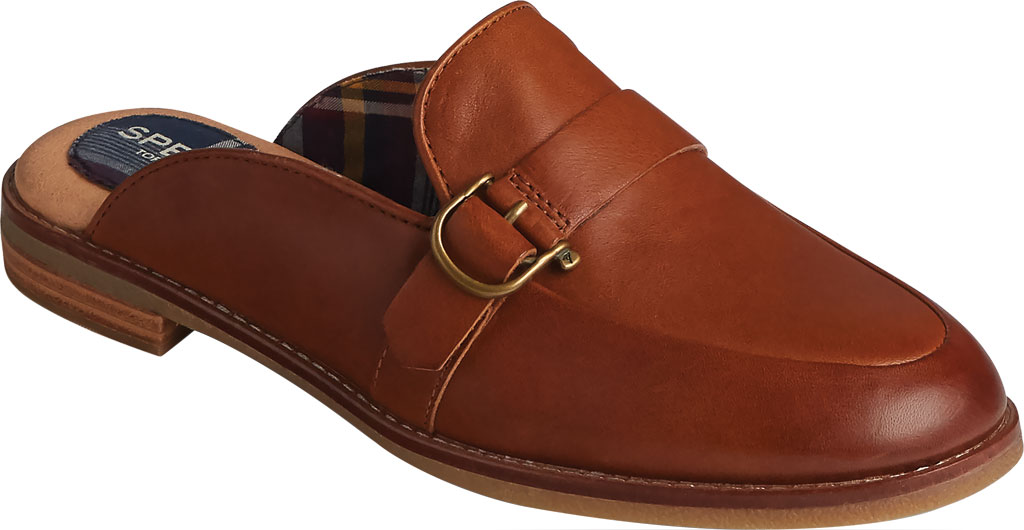 Women's Sperry Top-Sider Seaport Levy Shackle Buckle Leather Mule, Tan Leather, large, image 1