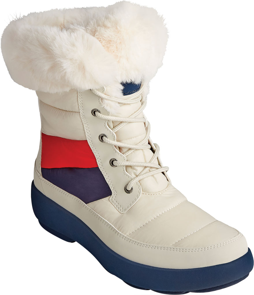 Women's Sperry Top-Sider Bearing PLUSHWAVE Nautical Stripe Nylon Mid Boot, White Quilted Nylon, large, image 1