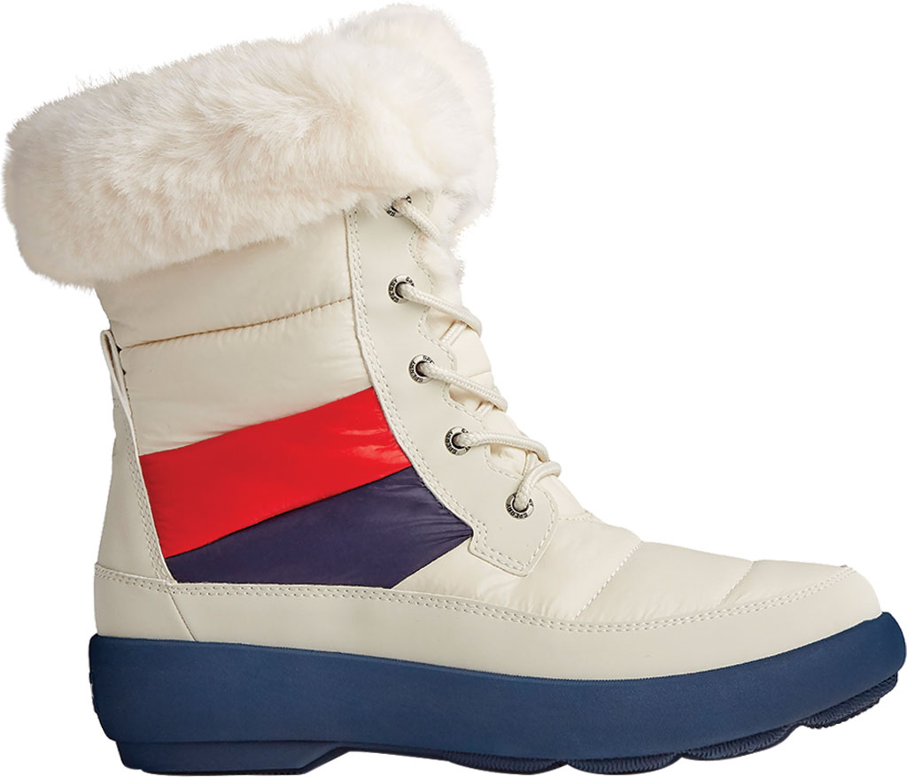 Women's Sperry Top-Sider Bearing PLUSHWAVE Nautical Stripe Nylon Mid Boot, White Quilted Nylon, large, image 2