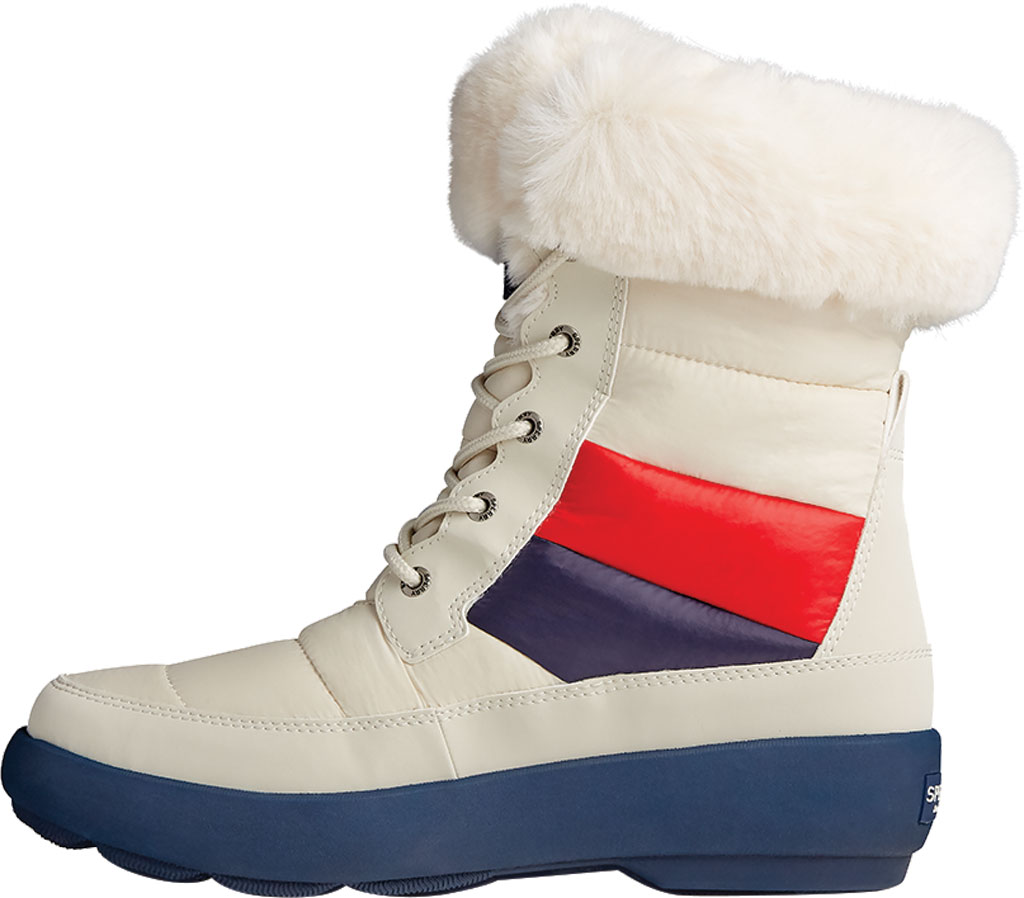 Women's Sperry Top-Sider Bearing PLUSHWAVE Nautical Stripe Nylon Mid Boot, White Quilted Nylon, large, image 3