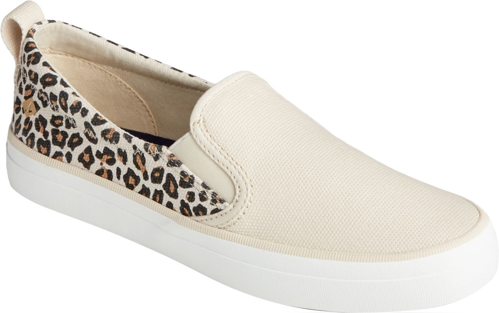 Women's Sperry Top-Sider Crest Twin Gore Animal Print Slip On Sneaker, Tan/Black Textile, large, image 1