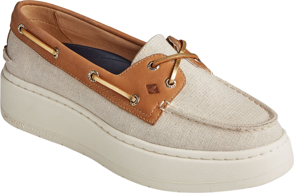Women's Sperry Top-Sider Authentic Original Platform Sparkle Boat Sneaker, Tan/Gold Textile, large, image 1