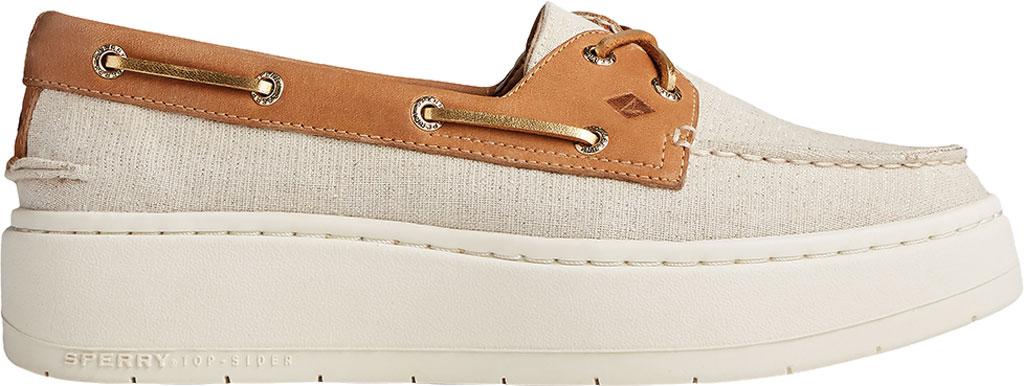 Women's Sperry Top-Sider Authentic Original Platform Sparkle Boat Sneaker, Tan/Gold Textile, large, image 2