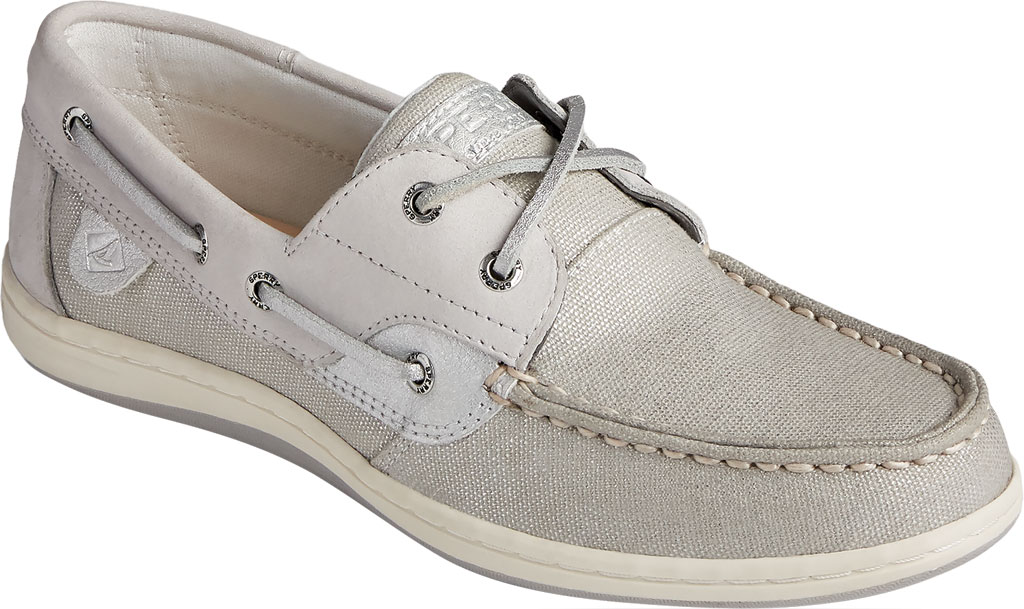 Women's Sperry Top-Sider Koifish Sparkle Textile Boat Shoe, Grey/Silver Textile, large, image 1