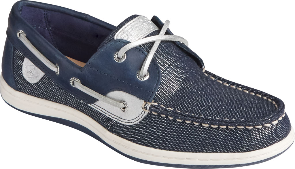 Women's Sperry Top-Sider Koifish Sparkle Textile Boat Shoe, Navy/Silver Textile, large, image 1