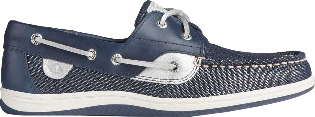 Women's Sperry Top-Sider Koifish Sparkle Textile Boat Shoe, Navy/Silver Textile, large, image 2