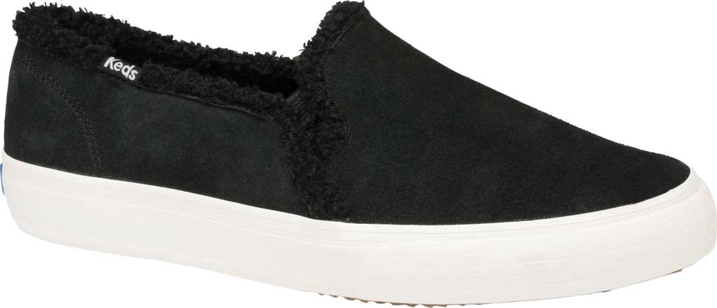 Women's Keds Double Decker Suede/Shearling Slip-On, Black Suede, large, image 1