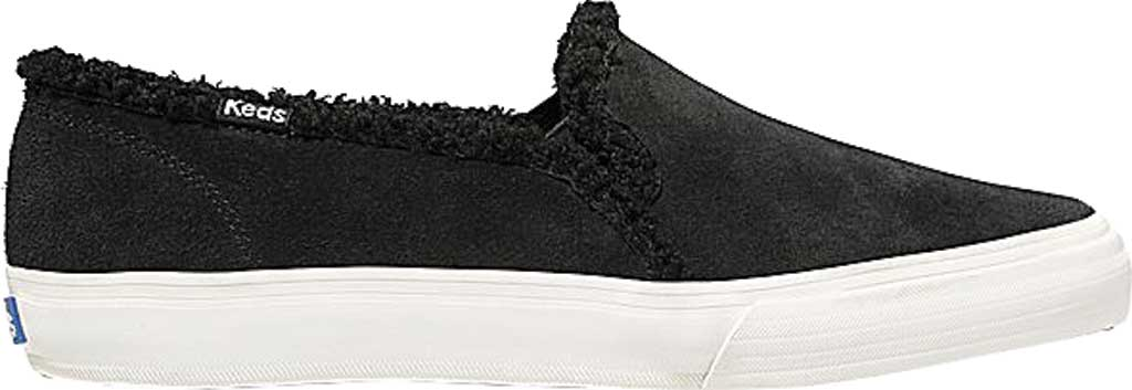Women's Keds Double Decker Suede/Shearling Slip-On, Black Suede, large, image 2
