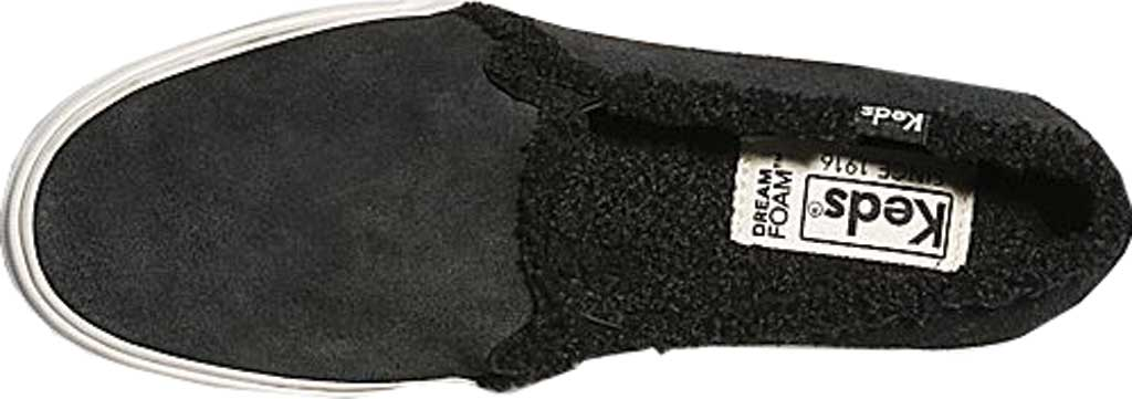 Women's Keds Double Decker Suede/Shearling Slip-On, Black Suede, large, image 4