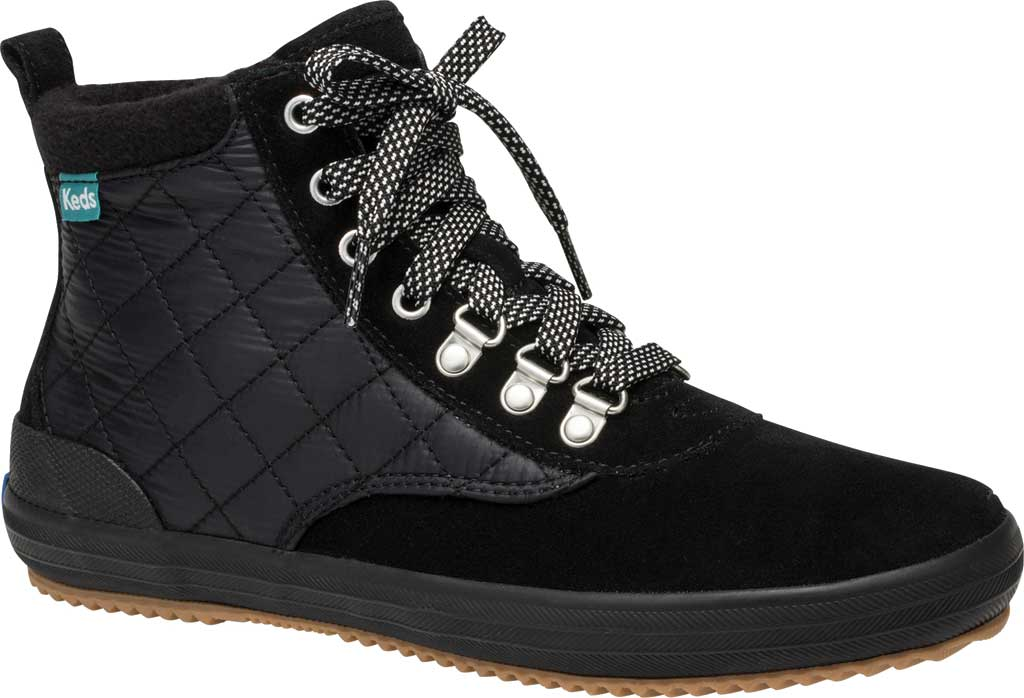 Women's Keds Scout Suede Nylon WX Boot II, Black/Black Suede/Quilted Nylon, large, image 1