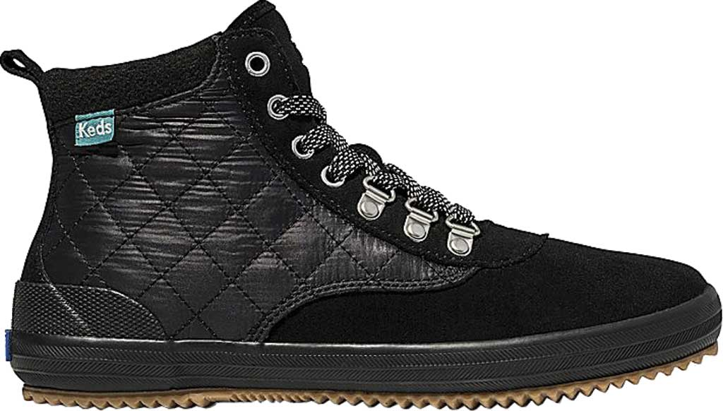 Women's Keds Scout Suede Nylon WX Boot II, Black/Black Suede/Quilted Nylon, large, image 2