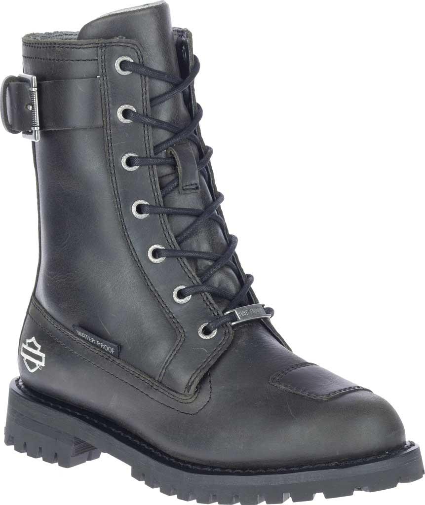 "Women's Harley-Davidson Bremerton 7"" Lace Waterproof Motorcycle Boot, Black Waterproof Full Grain Leather, large, image 1"