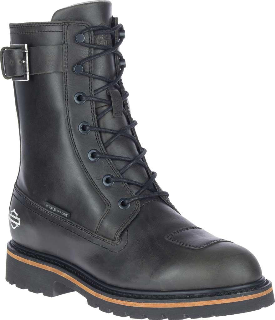 """Men's Harley-Davidson Brosner 8"""" Lace Waterproof Motorcycle Boot, Black Waterproof Full Grain Leather, large, image 1"""