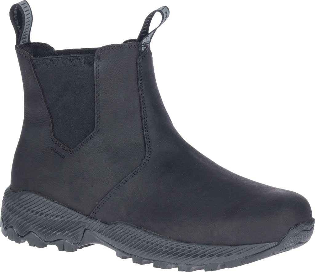 Men's Merrell Forestbound Chelsea Waterproof Boot, Black Polyurethane Coated Leather/Mesh, large, image 1
