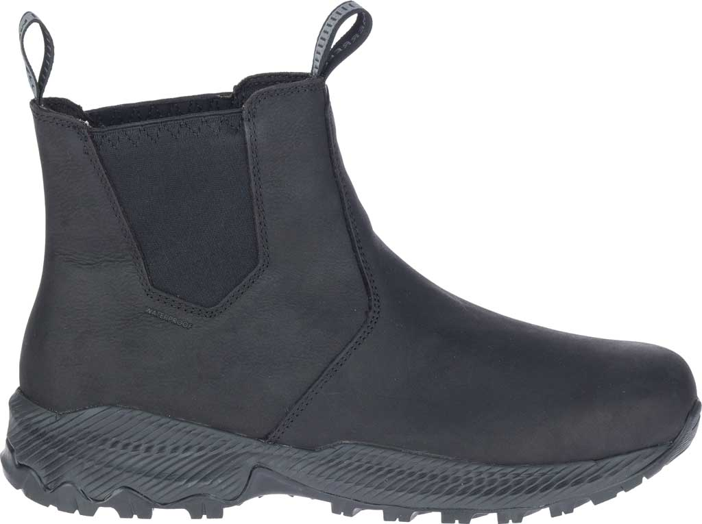 Men's Merrell Forestbound Chelsea Waterproof Boot, Black Polyurethane Coated Leather/Mesh, large, image 2