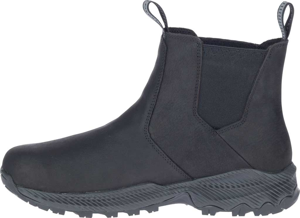Men's Merrell Forestbound Chelsea Waterproof Boot, Black Polyurethane Coated Leather/Mesh, large, image 3