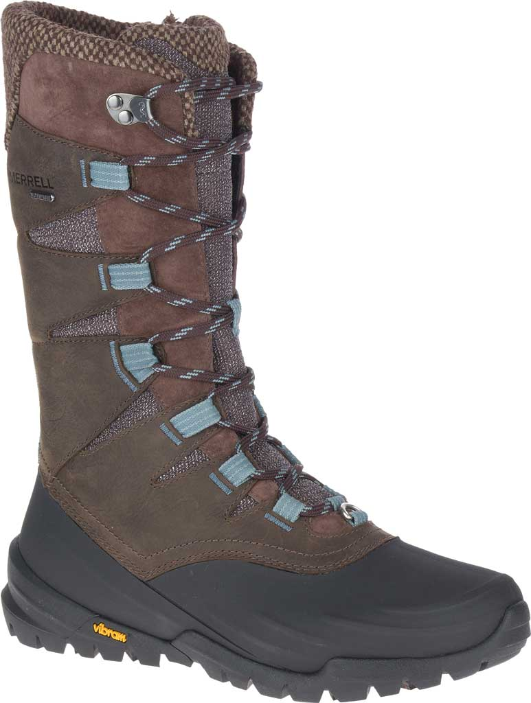 Women's Merrell Thermo Aurora 2 Tall Shell Waterproof Boot, Seal Brown Waterproof Full Grain Leather/Wool, large, image 1