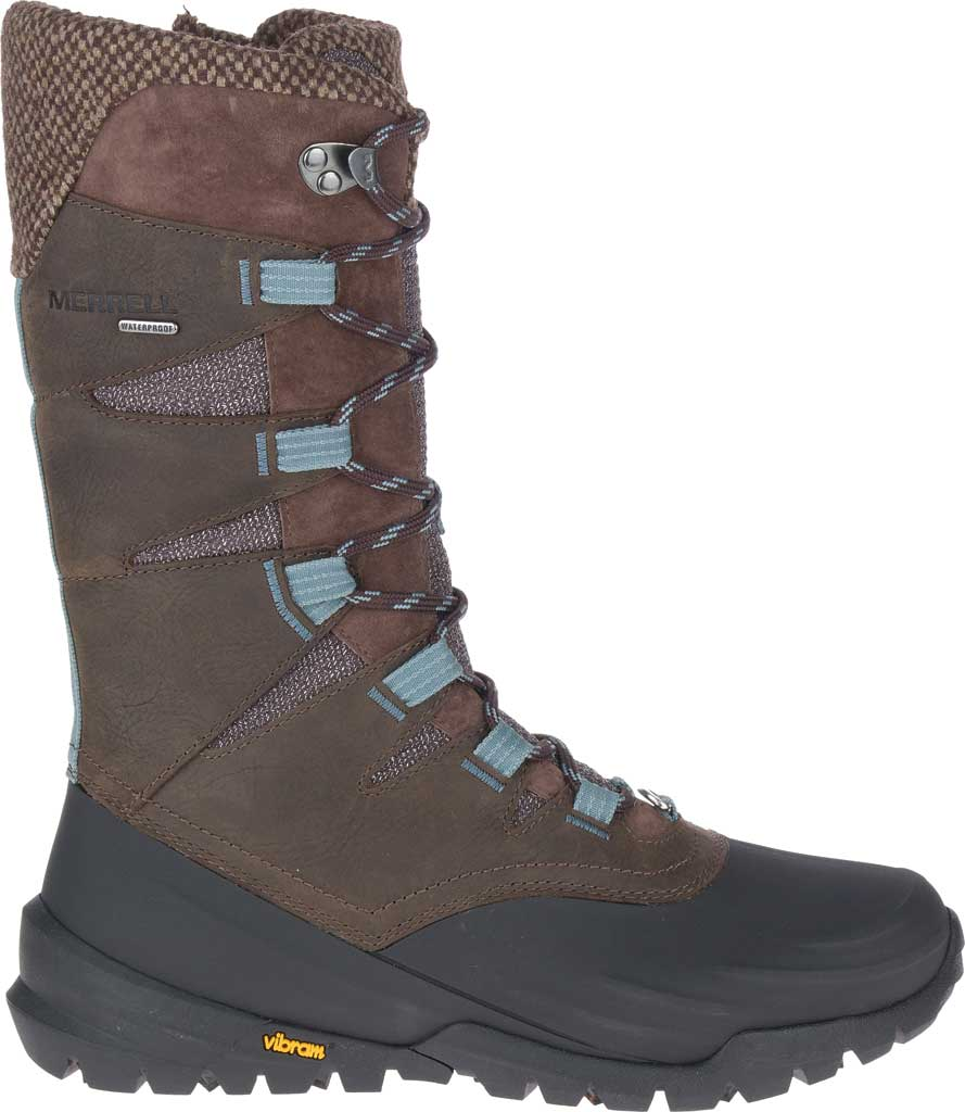 Women's Merrell Thermo Aurora 2 Tall Shell Waterproof Boot, Seal Brown Waterproof Full Grain Leather/Wool, large, image 2