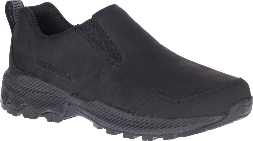 Men's Merrell Forestbound Moc Waterproof Slip On, Black Polyurethane Coated Leather/Mesh, large, image 1