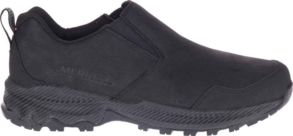 Men's Merrell Forestbound Moc Waterproof Slip On, Black Polyurethane Coated Leather/Mesh, large, image 2