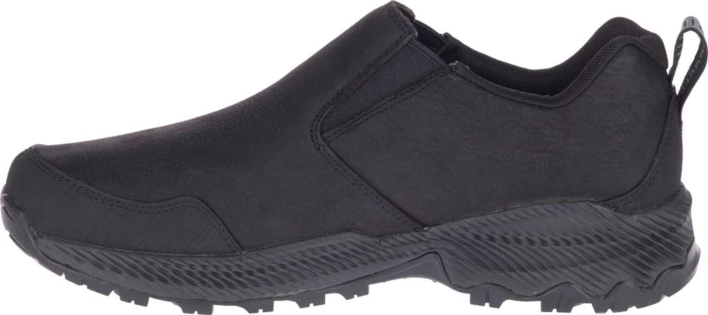 Men's Merrell Forestbound Moc Waterproof Slip On, Black Polyurethane Coated Leather/Mesh, large, image 3