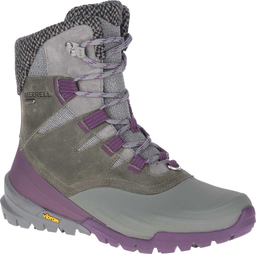 Women's Merrell Thermo Aurora 2 Mid Shell Waterproof Boot, Merrell Grey Waterproof Full Grain Leather/Wool, large, image 1