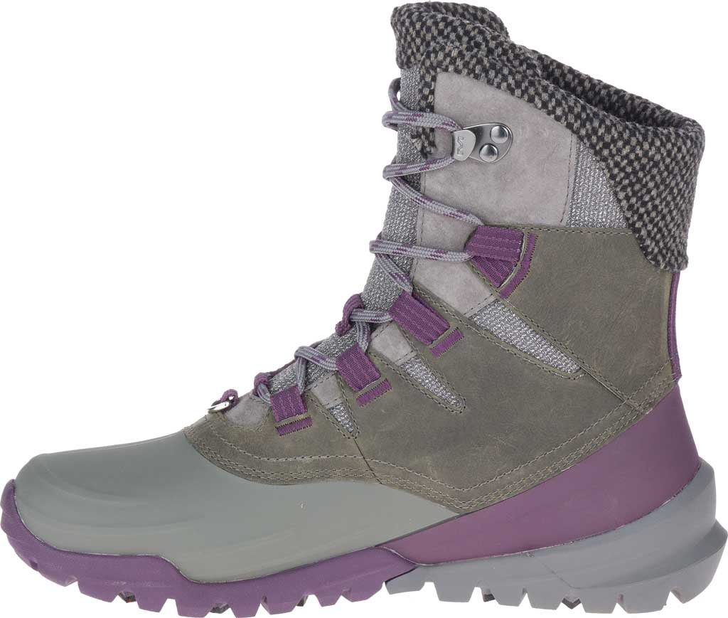 Women's Merrell Thermo Aurora 2 Mid Shell Waterproof Boot, Merrell Grey Waterproof Full Grain Leather/Wool, large, image 3