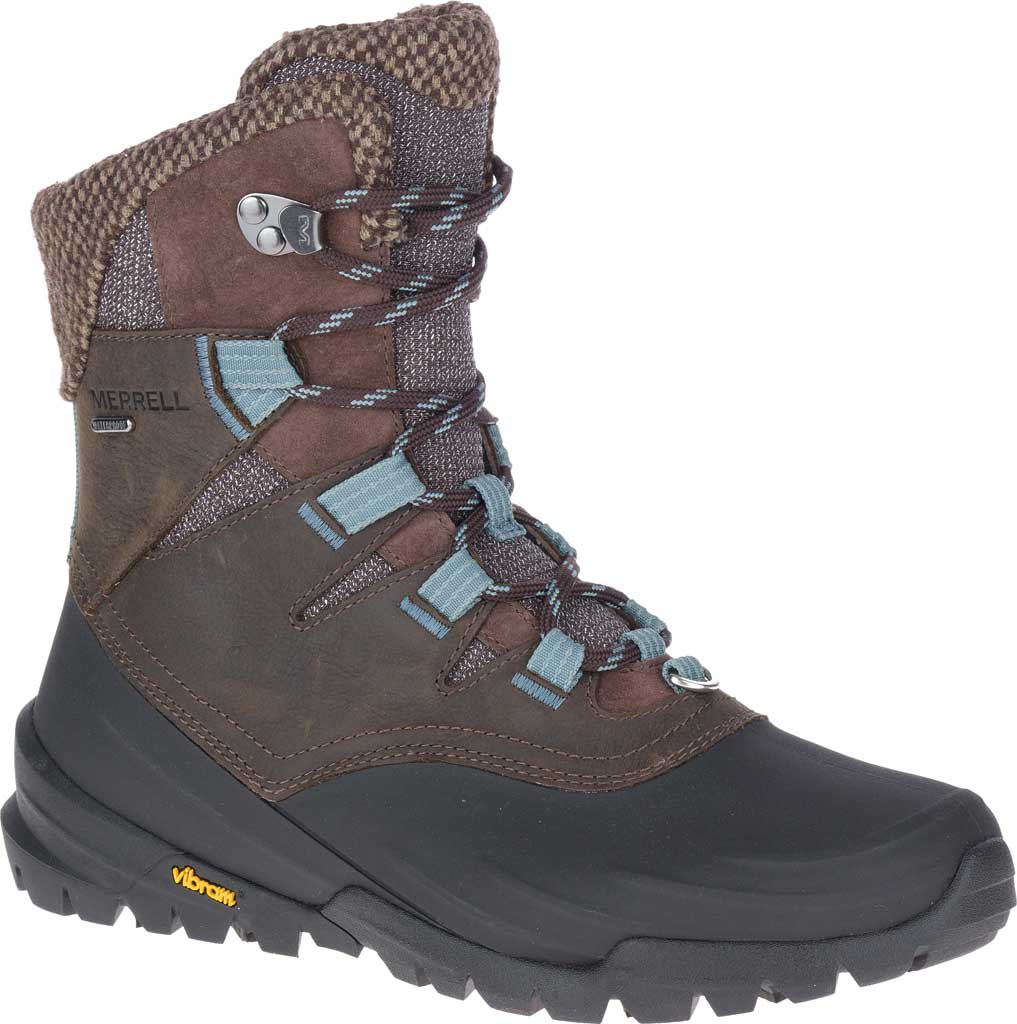 Women's Merrell Thermo Aurora 2 Mid Shell Waterproof Boot, Seal Brown Waterproof Full Grain Leather/Wool, large, image 1