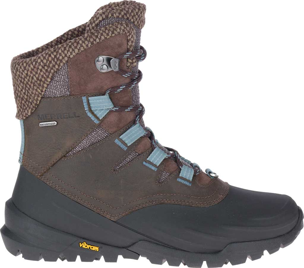 Women's Merrell Thermo Aurora 2 Mid Shell Waterproof Boot, Seal Brown Waterproof Full Grain Leather/Wool, large, image 2