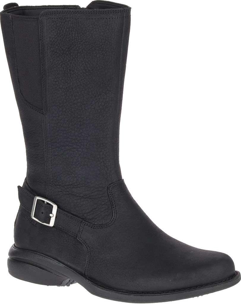 Women's Merrell Andover Peak Waterproof Boot, Black Waterproof Full Grain Leather, large, image 1