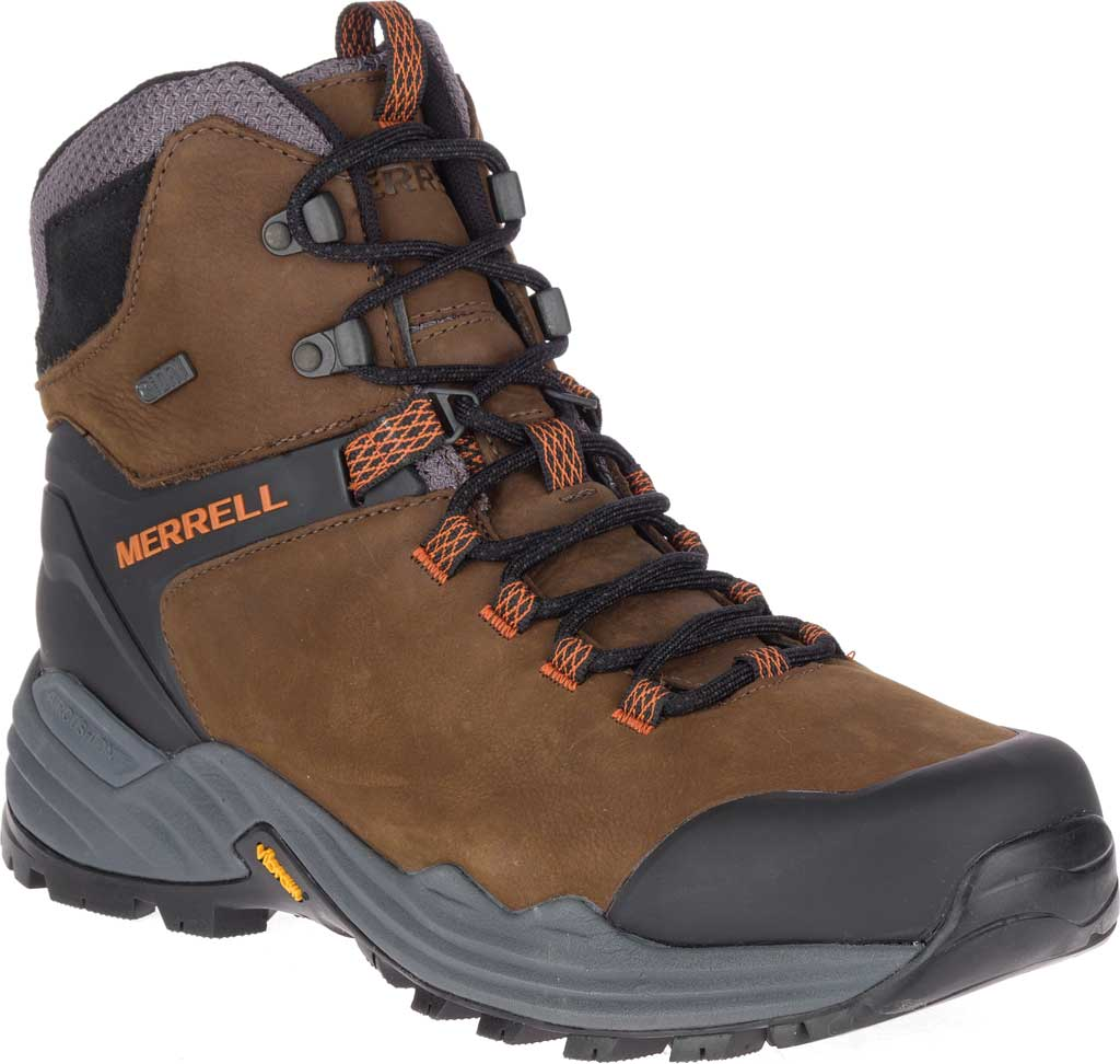Men's Merrell Phaserbound 2 Tall Waterproof Hiking Boot, Dark Earth Full Grain Leather, large, image 1