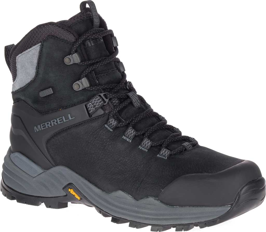 Men's Merrell Phaserbound 2 Tall Waterproof Hiking Boot, Black Full Grain Leather, large, image 1