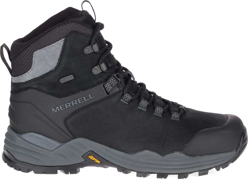 Men's Merrell Phaserbound 2 Tall Waterproof Hiking Boot, Black Full Grain Leather, large, image 2