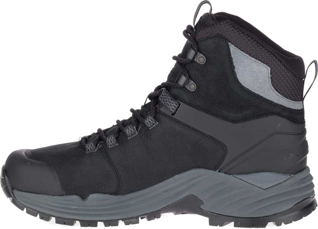 Men's Merrell Phaserbound 2 Tall Waterproof Hiking Boot, Black Full Grain Leather, large, image 3