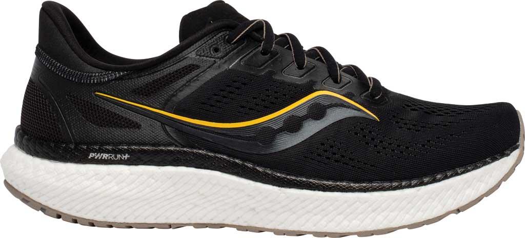 Men's Saucony Hurricane 23 Running Sneaker, Black/Vizigold, large, image 1