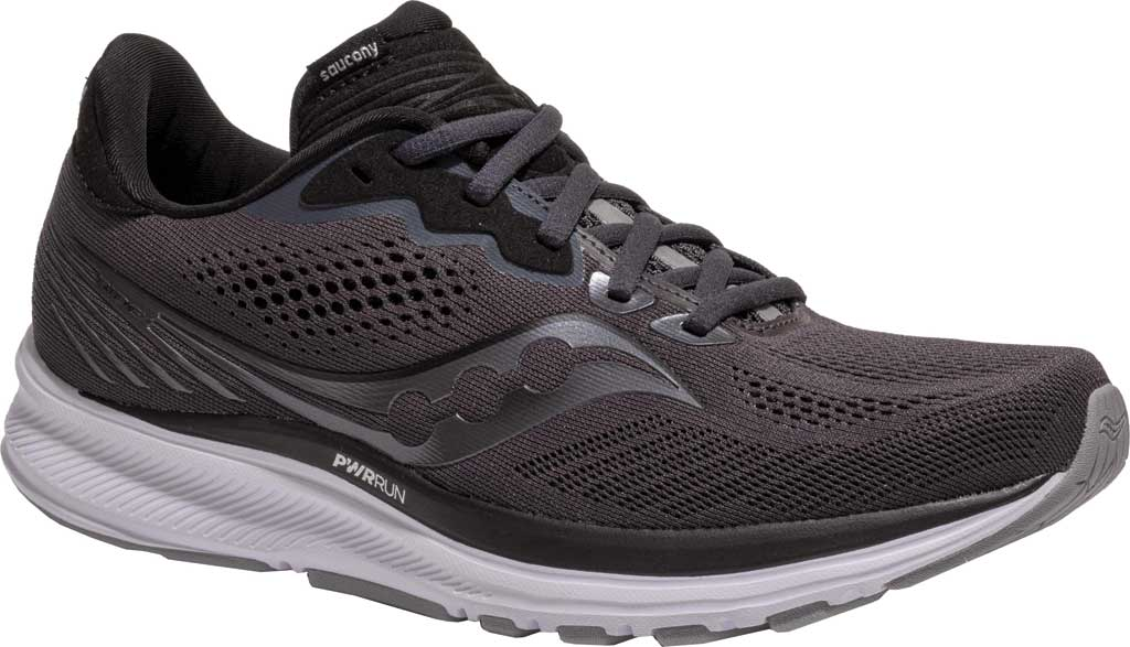 Women's Saucony Ride 14 Running Sneaker, Charcoal/Black, large, image 1