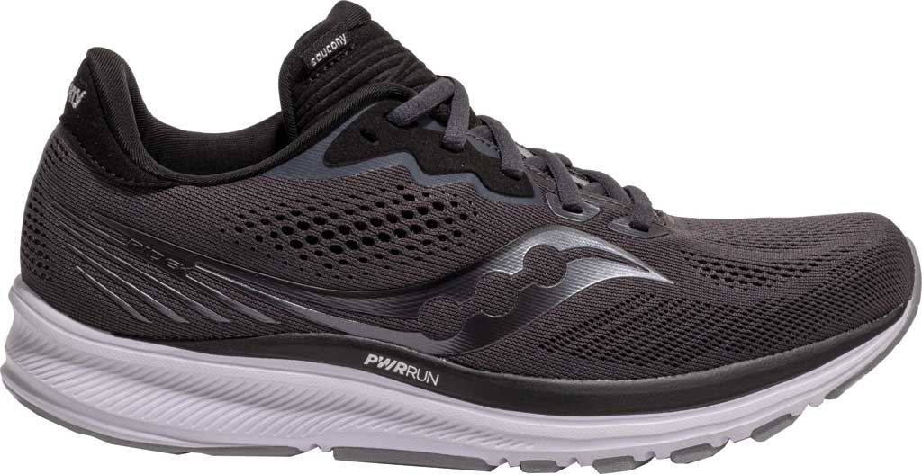 Women's Saucony Ride 14 Running Sneaker, Charcoal/Black, large, image 2