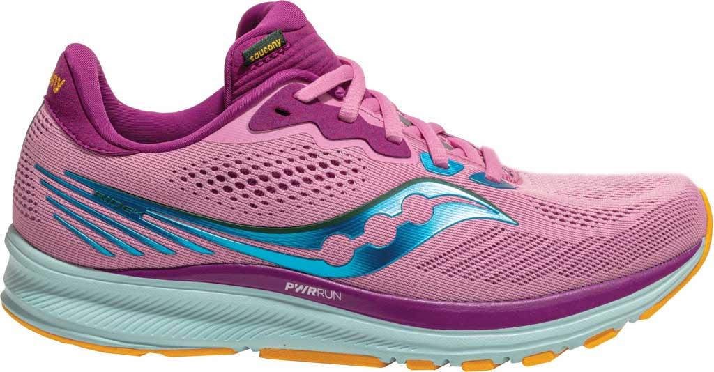 Women's Saucony Ride 14 Running Sneaker, Future Pink, large, image 2