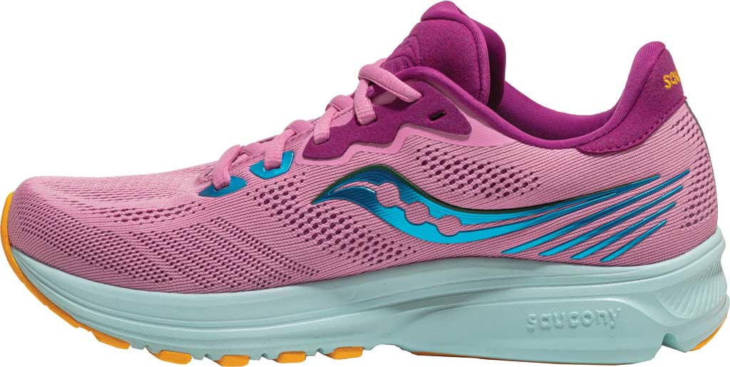 Women's Saucony Ride 14 Running Sneaker, Future Pink, large, image 3