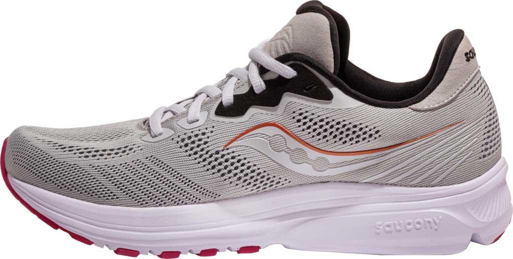 Women's Saucony Ride 14 Running Sneaker, Fog/Cherry, large, image 3
