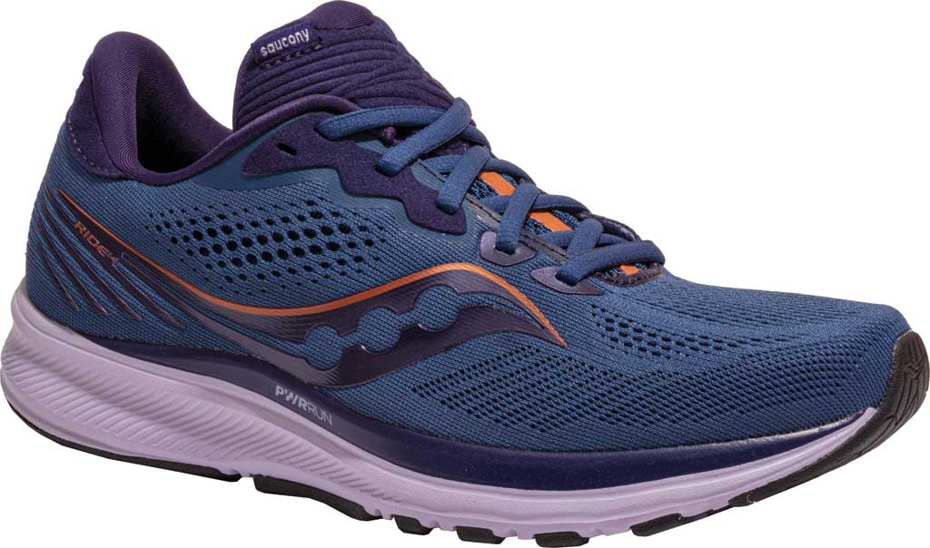 Women's Saucony Ride 14 Running Sneaker, Midnight/Copper, large, image 1