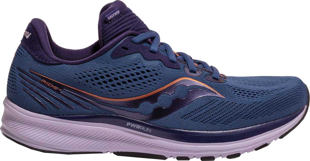 Women's Saucony Ride 14 Running Sneaker, Midnight/Copper, large, image 2