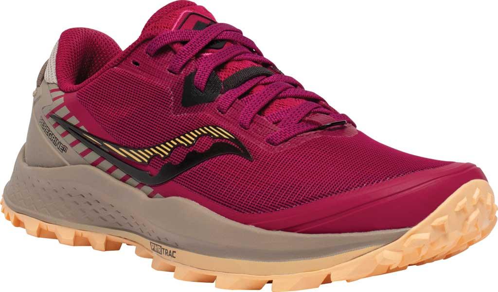 Women's Saucony Peregrine 11 Running Sneaker, Cherry/Gravel, large, image 1