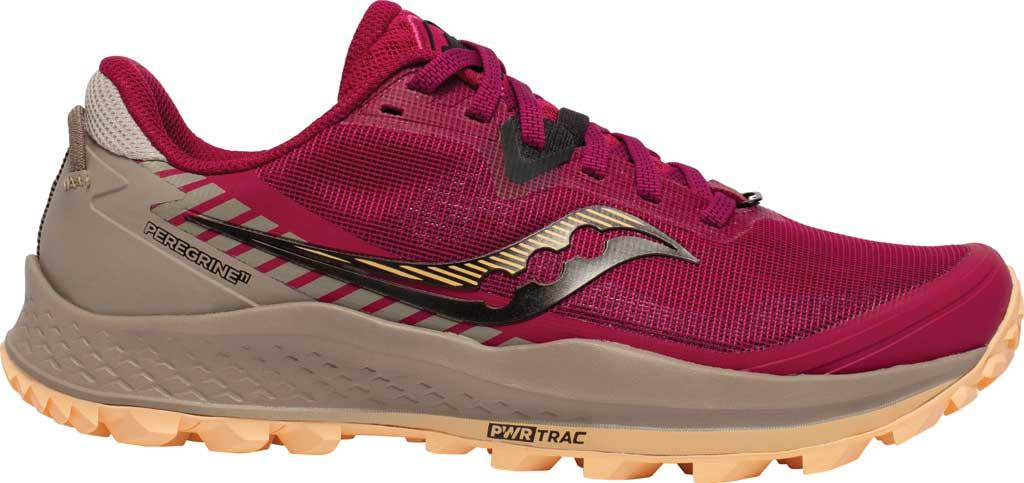 Women's Saucony Peregrine 11 Running Sneaker, Cherry/Gravel, large, image 2