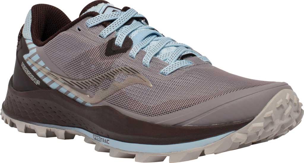 Women's Saucony Peregrine 11 Running Sneaker, Zinc/Sky/Loom, large, image 1
