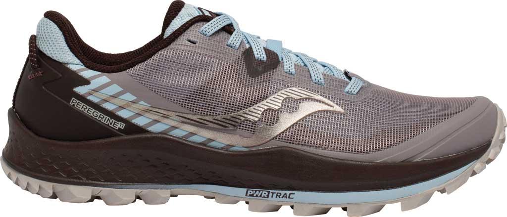 Women's Saucony Peregrine 11 Running Sneaker, Zinc/Sky/Loom, large, image 2