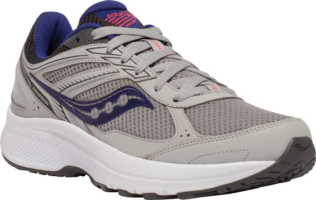 Women's Saucony Cohesion 14 Running Sneaker, Grey/Purple, large, image 1